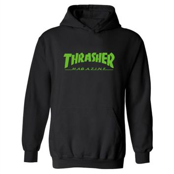 Thrasher series of hooded cashmere sweater and a variety of sports Green letters