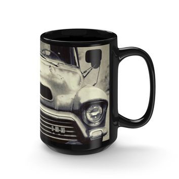 Vintage Truck Coffee Mug - 15oz Black Ceramic