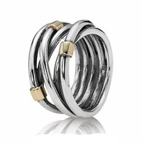 PANDORA Two-Tone Silver Rope Ring