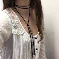 Genuine Leather Tie Wrap Bolo Choker Necklace