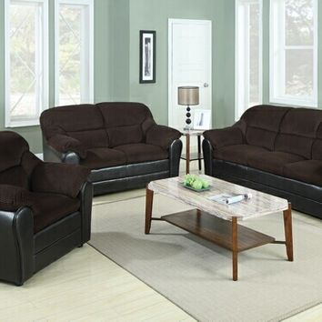 3 pc Cornell collection two tone chocolate corduroy fabric and leather like vinyl upholstered sofa, love seat and chair
