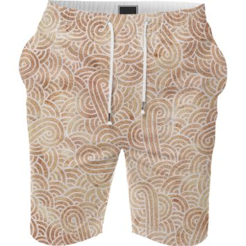 Iced coffee and white swirls doodles Summer Short