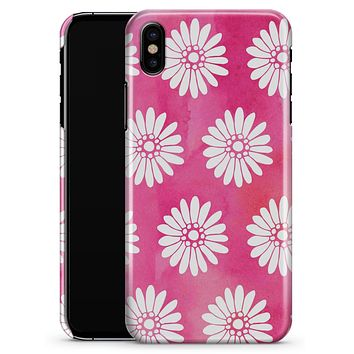 The Pink Watercolor Grunge Surface with White Floral Pattern - iPhone X Clipit Case