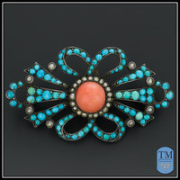 Antique Victorian Persian Turquoise Coral & Seed Pearl Brooch