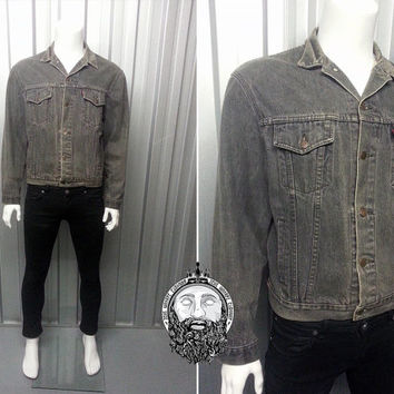 Vintage 90s Grunge Levis Grey Denim Jacket Faded Jacket Trucker Jacket Levi Strauss Mens Medium Jean Jacket 90s Denim Jacket Black Denim