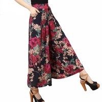Floral Casual High Waist Trousers
