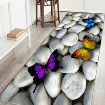 Fashion 3d Cobblestone Stone Colorful Butterfly Pattern Kitchen Doormats Non-slip Absorent Water Floor Mats Bathroom Area Rug Ca