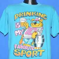 80s Drinking Is My Favorite Sport Beer Cat t-shirt Large