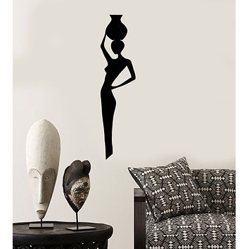 Vinyl Wall Decal African Native Woman With Jug Silhouette Stickers (3869ig)