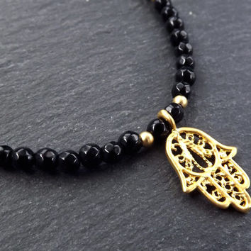 Hamsa Hand of Fatima Layer Necklace Black Onyx Stone Gemstone Hippie Bohemian Artisan