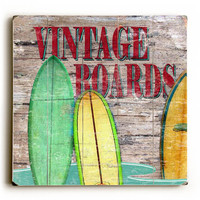 Vintage Surfboards by Artist Karen Williams Wood Sign