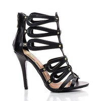 Melon by Speed Limit 98, Curvy Dress Faux Leather Cut Out Link Ankle Gladiator Sandal