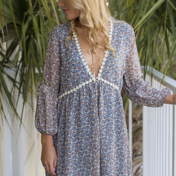 Wonder Forever Blue Floral Dress
