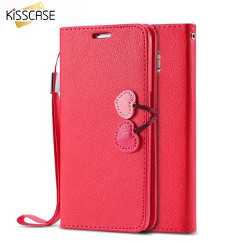 KISSCASE Luxury Leather Case for Galaxy S3 i9300 Cherry Phone Accessories Wallet Holders Stand Flip Cute Cover for Samsung S3