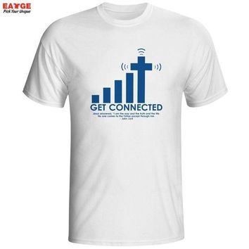 LMFGC3 Get Connected To Jesus T Shirt Design Fashion Creative Pattern T-shirt Cool Casual Novelty Funny Tshirt Men Women Style Top Tee