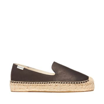 Soludos Platform Smoking Slipper Leather Leather Espadrille