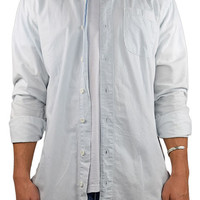 The Long Side Zip LS Buttondown Shirt in Pale Blue