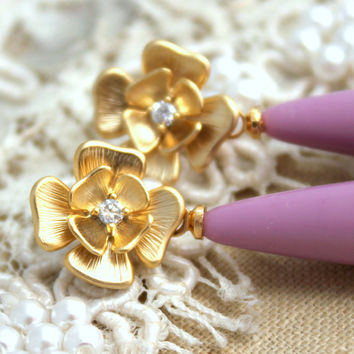 Purple violet Classic elegant chic earrings - 14K Gold  plated earrings with white Majorica perfect teardrop pearl.