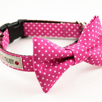 Hot Pink Polka Dot Bow Tie Collar by SillyBuddy on Etsy