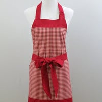Womens Chef Apron, Dark Red and Off-White Plaid, Fully Lined, Large Pockets 100% Premium Cotton