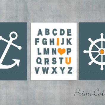 Nautical Nursery Wall Art Prints / navy blue and orange / 8x10 inch / set of 3 / anchor / ABC / baby boy / boy's room decor / kids art