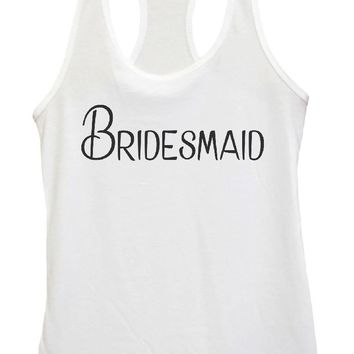 Womens BridesMaid Grapahic Design Fitted Tank Top