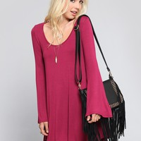 Sabrina Bell Sleeve Dress - Burgundy | GYPSY WARRIOR