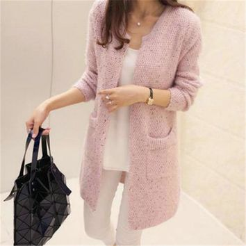 Autumn Winter Women Casual Long Sleeve Knitted Cardigans 2018 New Crochet Ladies Sweaters Fashion Tricot Cardigan PZ146
