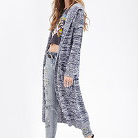 FOREVER 21 Marled Open-Knit Cardigan Blue/White