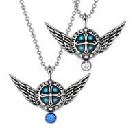 Angel Wings Archangel Michael Love Couples or Best Friends Set Charms White Royal Blue Pendant Necklaces