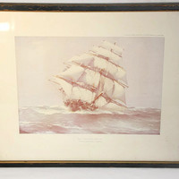 J. Spurling Watercolor Print Clipper Ship Flying Cloud, Nautical Art