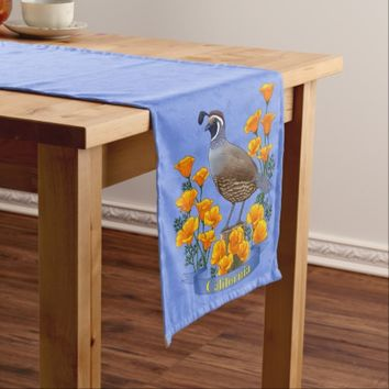 California State Bird Quail & Golden Poppy Medium Table Runner