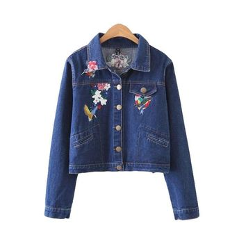 Denim Jacket Solid Slim Long Sleeve Jacket Women Turn-down Floral Embroidery Pockets
