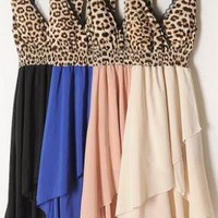 High-Low Hem Leopard Chiffon Dress