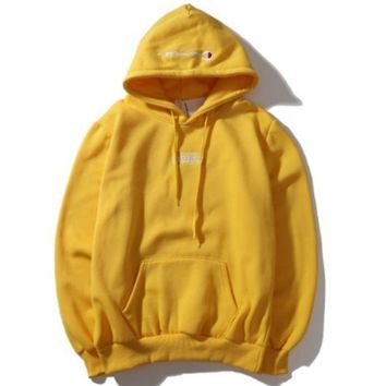 Champion Autumn And Winter Back Big Logo Plus Cashmere Hooded Sweater Yellow