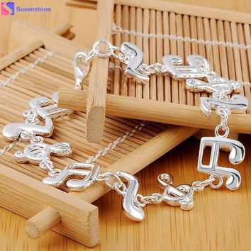Hot selling snaps jewelry new 2016 bracelet femme Fashion Music Note Style Alloy sterling-silver-jewelry bracelets for women