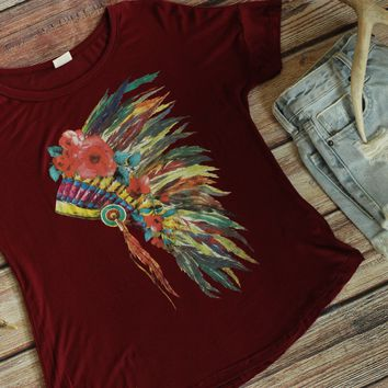 Floral Headdress Tee Shirt - Burgundy