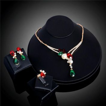 QCOOLJLY Engagement Multi-colored Austrian Crystal Rhinestone Gold Color Ring Necklace Earrings Jewelry Sets Accessories