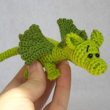 Dragon amigurumi, crochet dragon, stuffed animal, toy for kids.