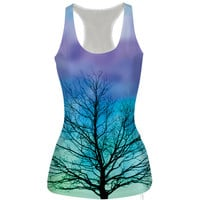Womens Tree Printed Tank Top Summer Sports Vest