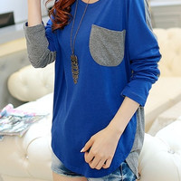 Korean Women Loose Long Sleeve Tops Contrast Stitching Patch Pocket Blue Cotton T-Shirt