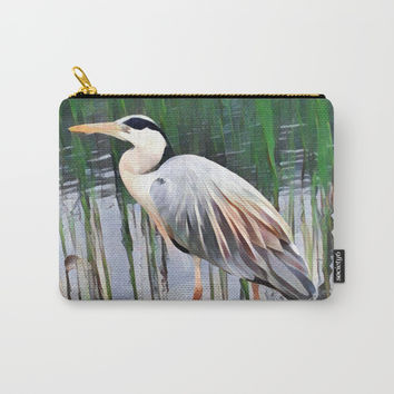 Heron in Watercolour Carry-All Pouch by Emerald Of Oz
