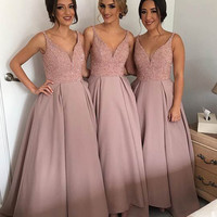 Glamorous Light Pink Blush Bridesmaid Dresses Long Beaded Satin Ball Gown Bridesmaid Dress 2016 Elegant Bridesmaid Gowns B38
