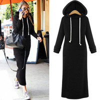 Winter Women Velvet Slim Hooded One Piece Dress a13096