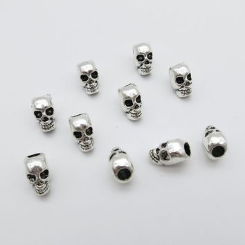 Skull Skulls Halloween Fall 10pcs-20pcs small  Hair Braid Dread Dreadlock Beads Cuffs Clips approx 4mm inner hole Calavera