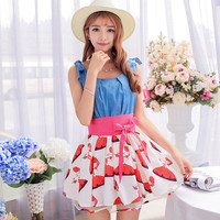 Sweet printed bowknot dress