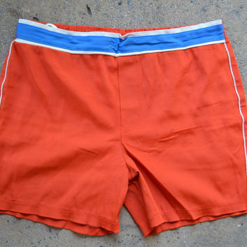 Vintage 1950's Jantzen Orange & Blue Band Rockabilly Swim Trunks Shorts