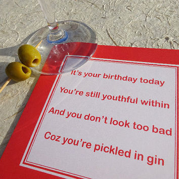 Birthday card, pickled in gin, rude birthday card for a friend, brother or sister