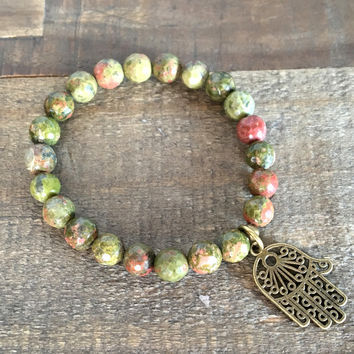 Faceted Unakite Bracelet with Hamsa Charm