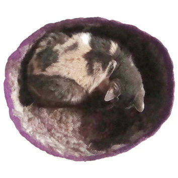 Felted Cat Bed Sheep Friendly Wool Cat Basket - Pet Bed - Border Leicester  - Supporting Small US Farms